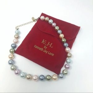 KENNETH JAY LANE Pastel Pearl Chunky Necklace NEW